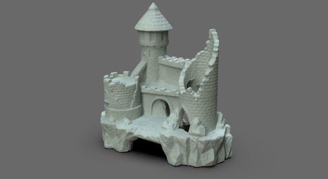fish castle 3d model obj mtl 1