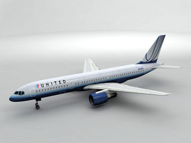 boeing 757-200 airliner - united airlines 3d model low-poly max obj mtl 3ds dxf stl wrl wrz 1