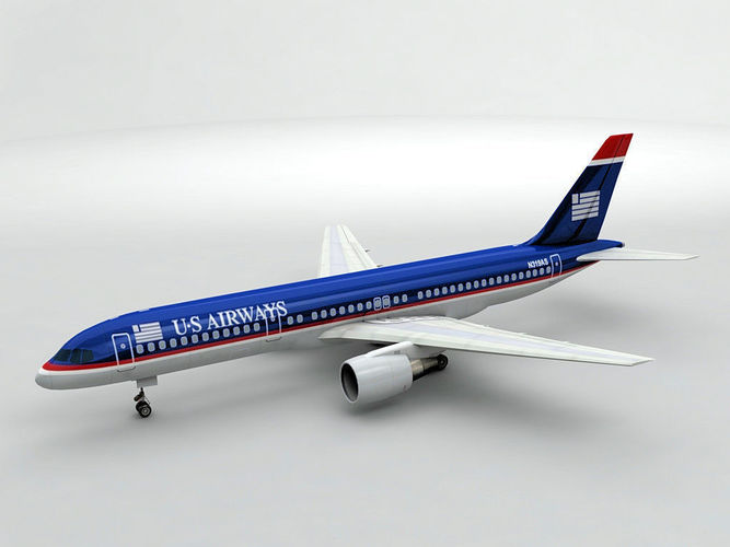boeing 757-200 airliner - us airways 3d model low-poly max obj mtl 3ds dxf stl wrl wrz 1