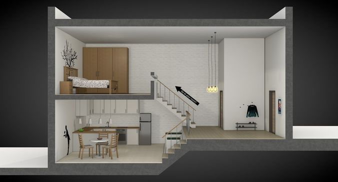 House Section With Furniture And 3d Model