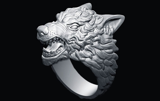 demonic wolf ring 3d model obj mtl stl 1
