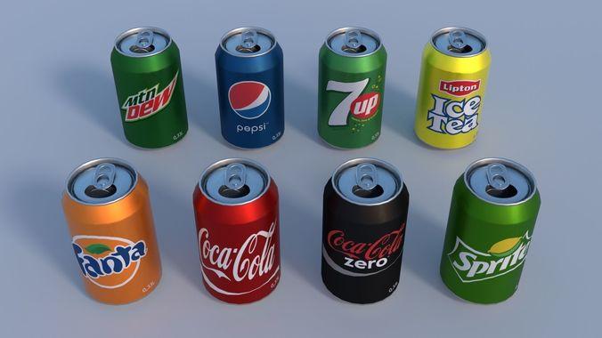 soda cans pbr 3d model obj mtl 3ds fbx stl blend dae 1