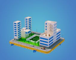 3D asset realtime Low Poly City Block