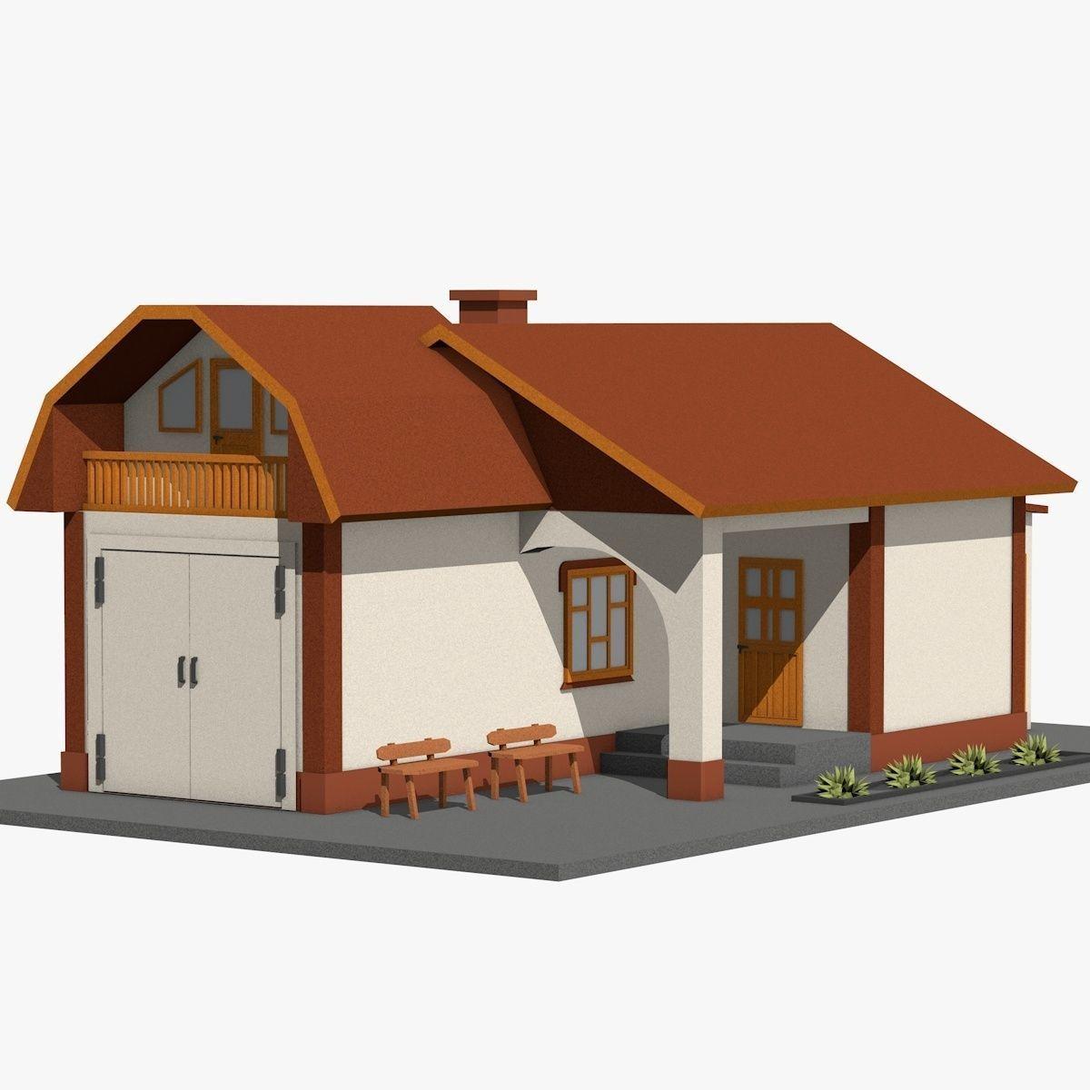 3D Asset Cartoon Garage