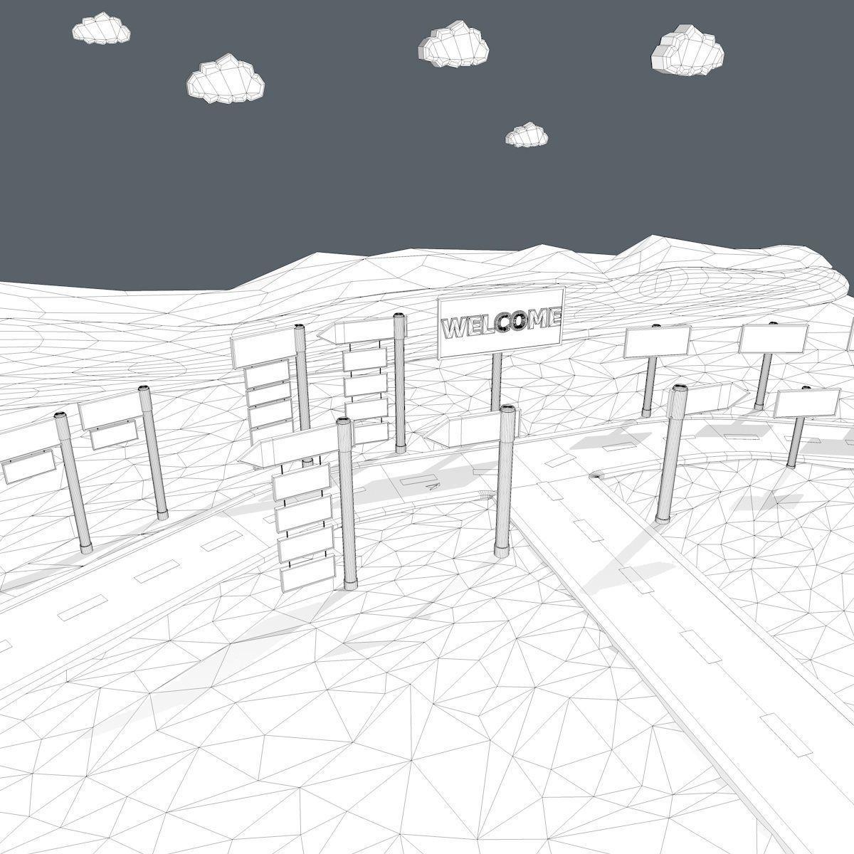 Cartoon Road Scene 3D model   CGTrader
