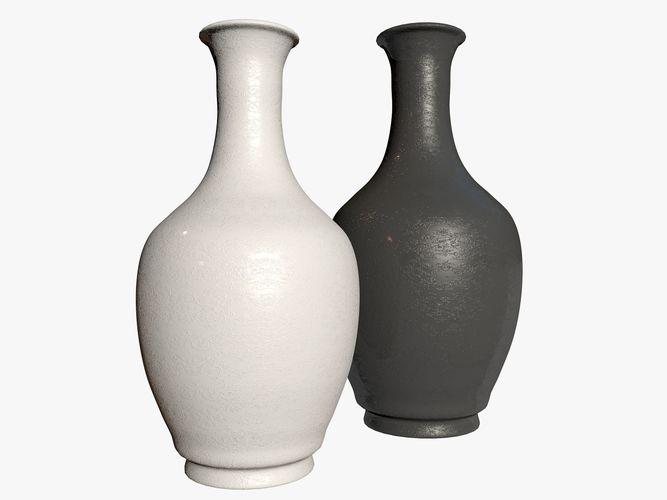 Two Black And White Vases 3d Model Cgtrader