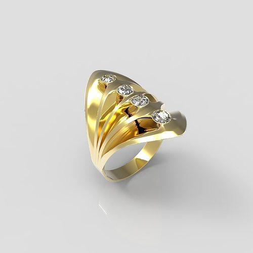 3D print model diamonds Gold Ring
