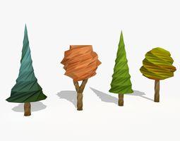 Four Cartoon Trees 3D model