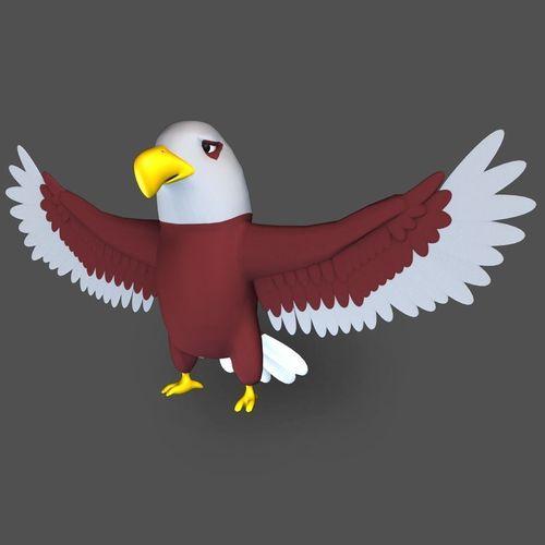 cartoon eagle 3d model low-poly obj mtl fbx ma mb stl 1