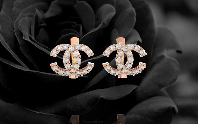348 Channel Diamond Earrings Model Stl 1