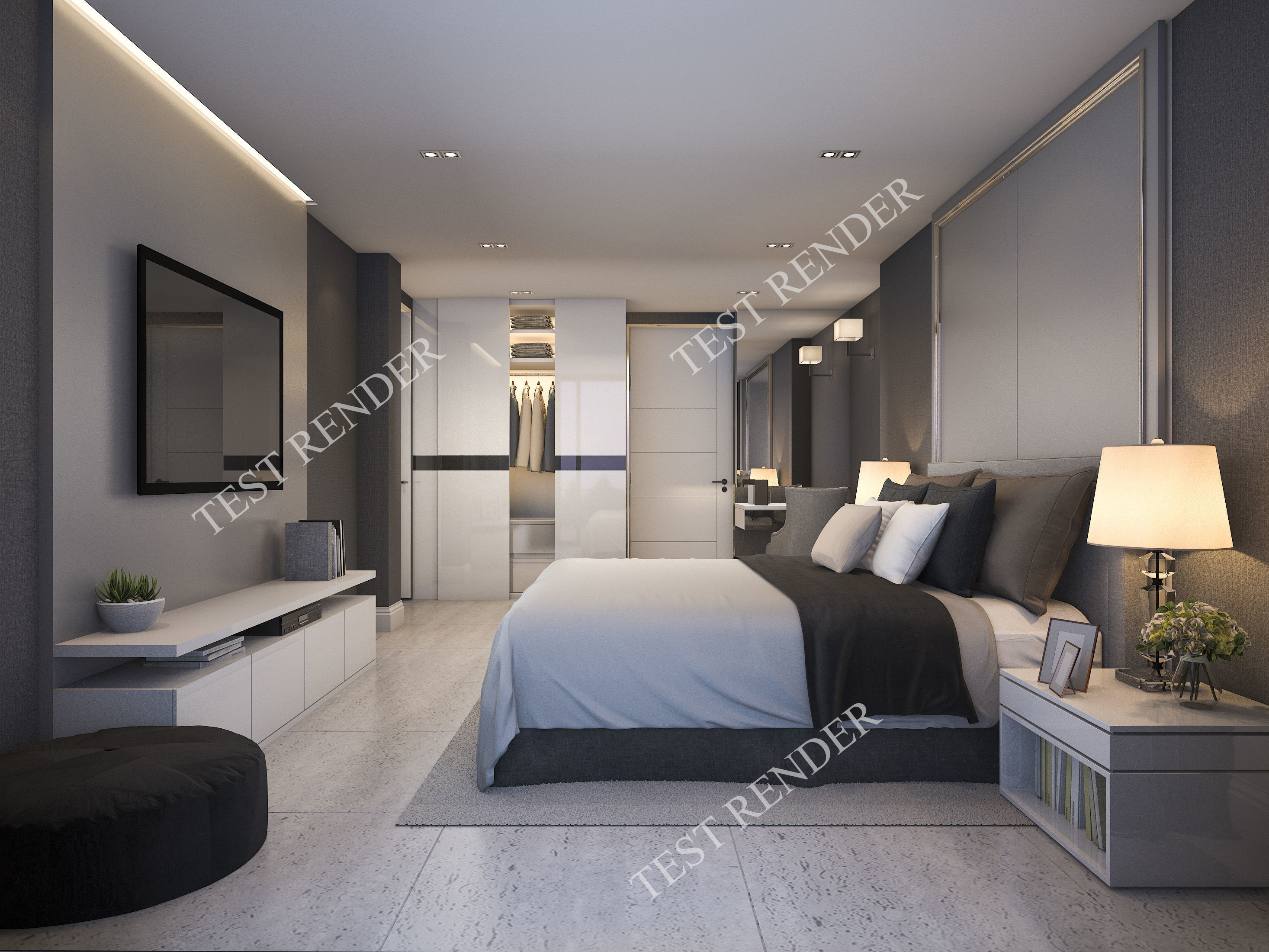 . 3d modern luxury modern bedroom suite in hotel with wardrobe   3D model
