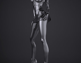 Girl with gas masks three 3D print model