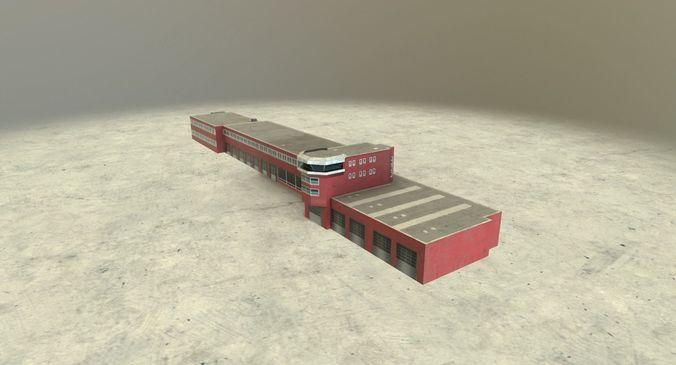 eddb fire department 2  3d model low-poly max obj 3ds fbx mtl 1
