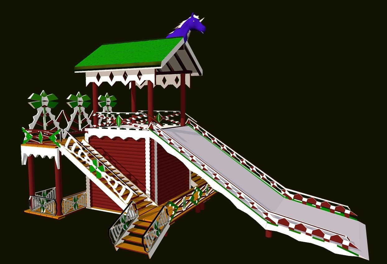 Russian Wooden Winter Slide Attraction