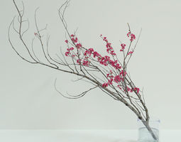 Decorative branch with flowers of sakura 3D model