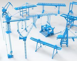 3D model Cranes - 17 pieces