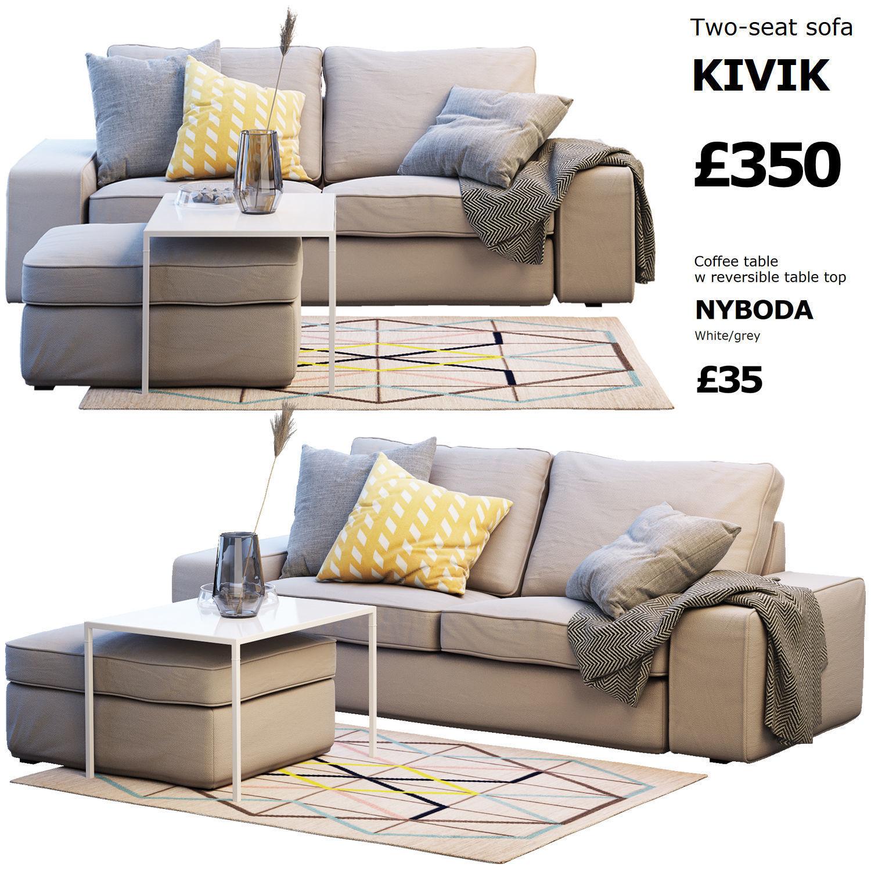 Two Seat Sofa Ikea Kivik 2 Model Max Obj Mtl Fbx 1