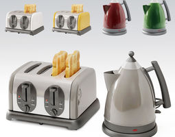 3D toaster and teapot