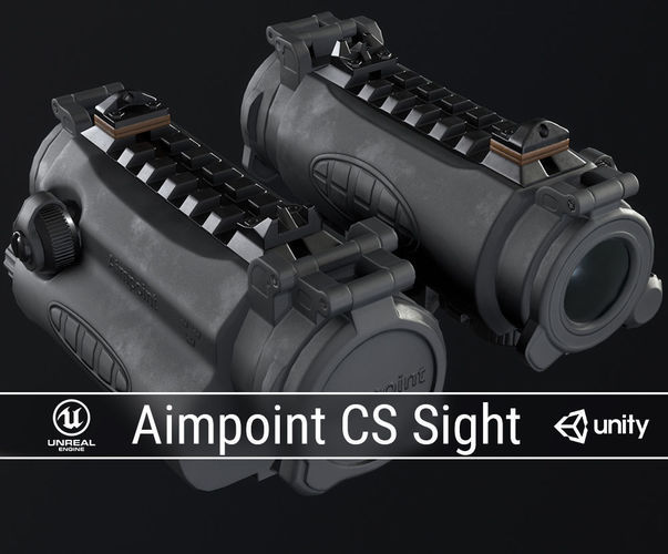 pbr aimpoint cs sight 3d model low-poly obj fbx ma mb dae 1