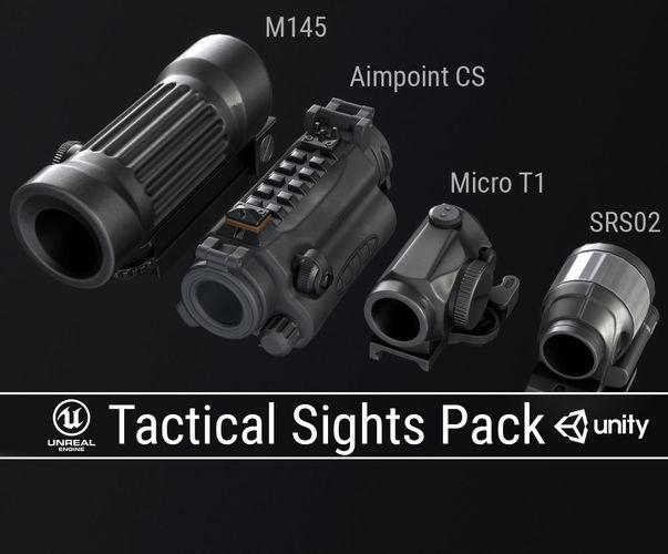 pbr tactical sights pack 3d model low-poly obj fbx ma mb dae tga 1
