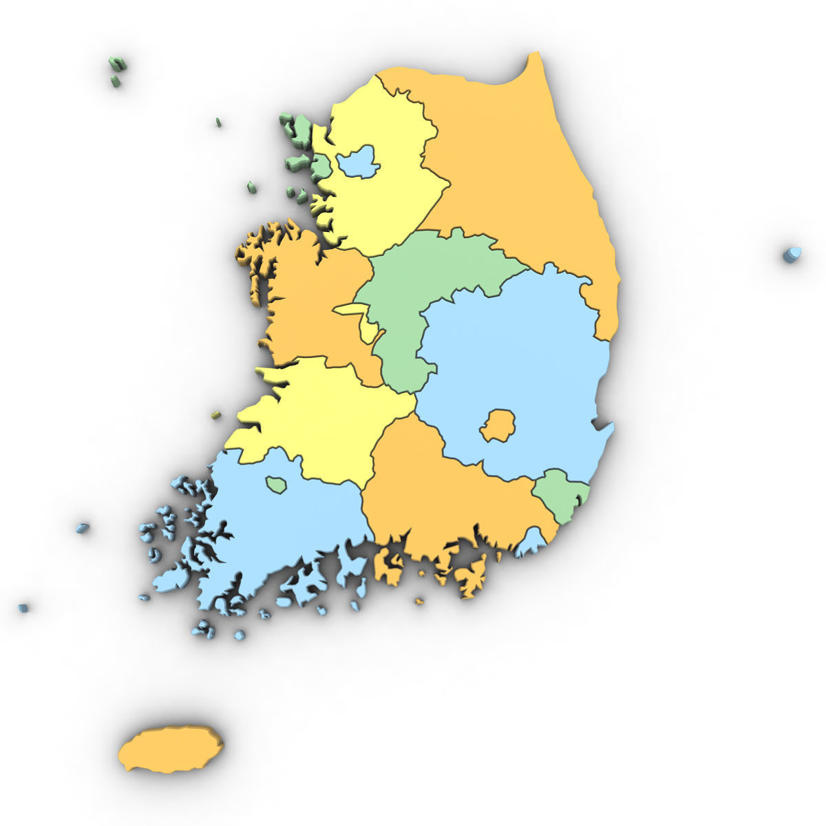 3d Political Map Of South Korea Cgtrader
