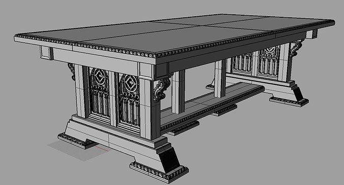 High Quality ... Gothic Table 3d Model Max Obj Fbx 3dm 5