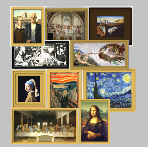 famous paintings pack for 3d printing 3d model obj stl wrl wrz mtl 1