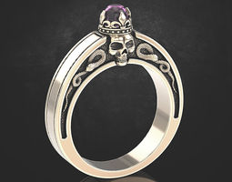 An engagement ring with a skull and a crown 3D print model