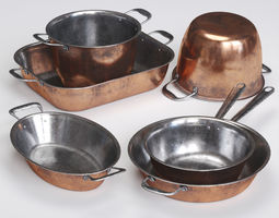 griddle Copper Cookwares Set 3D model