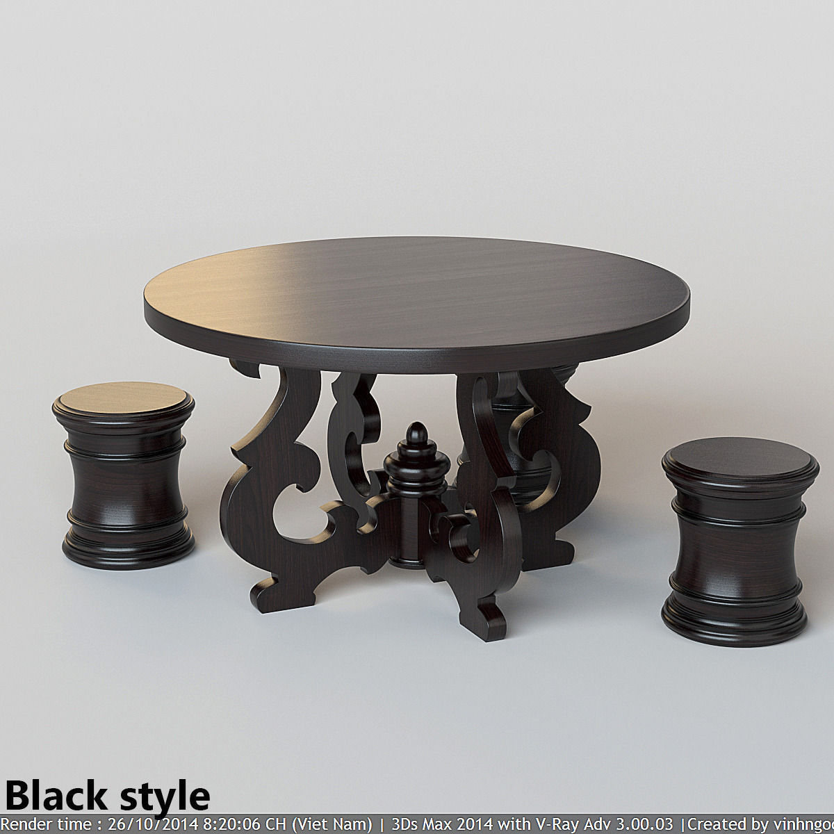 French Country Round Dining Table: French Country Round Dining Table 3D Model MAX FBX