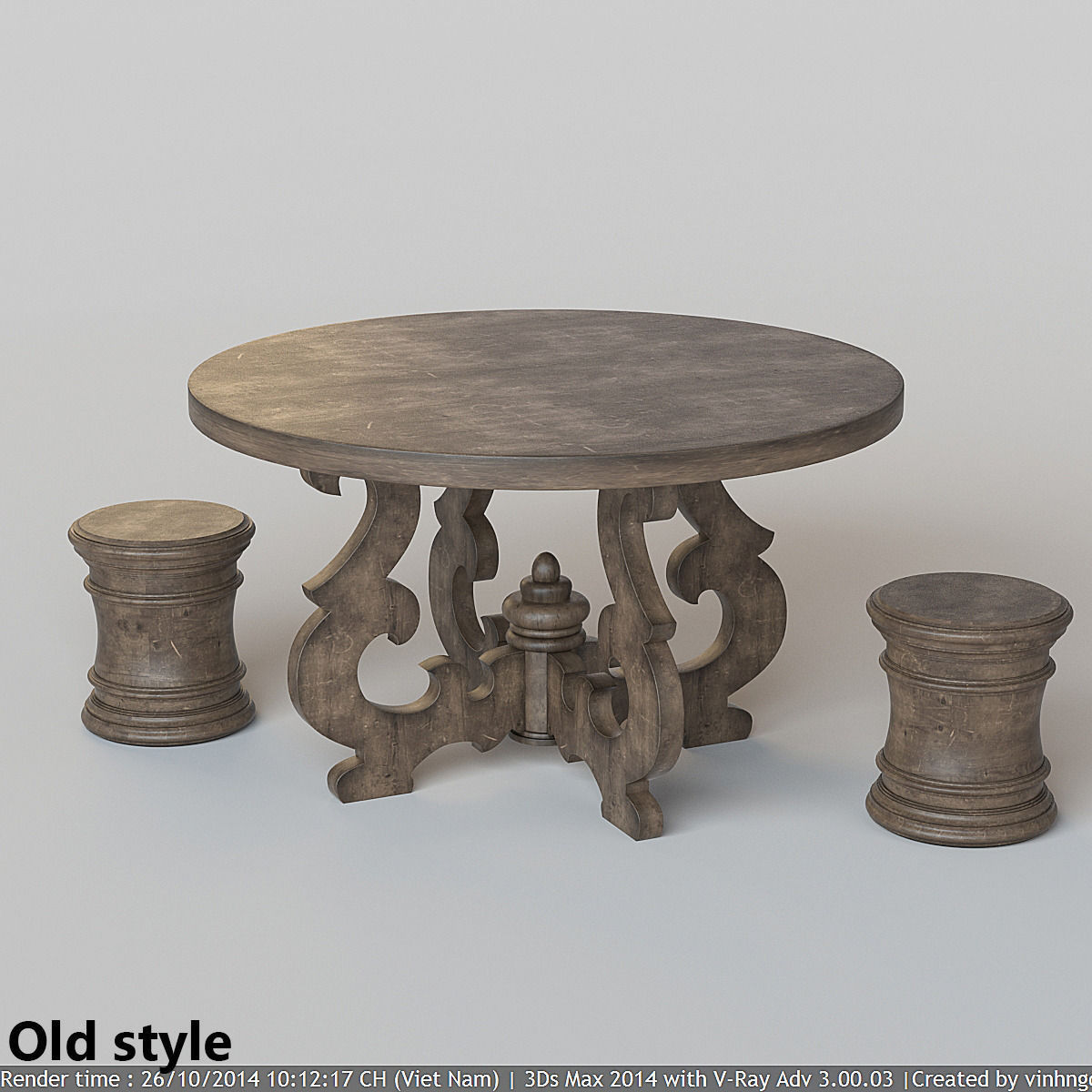 French Country Round Dining Table 3D model CGTrader