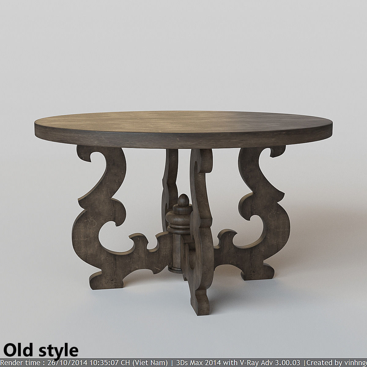 French country round dining table 3d model max fbx for Table th no scroll