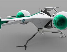 3d model futuristic self balancing helicopter - oblivion concept