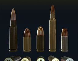 3D asset Low Poly Bullets