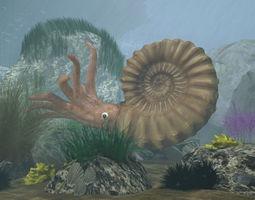 Ammonite with complete underwater scene 3D asset
