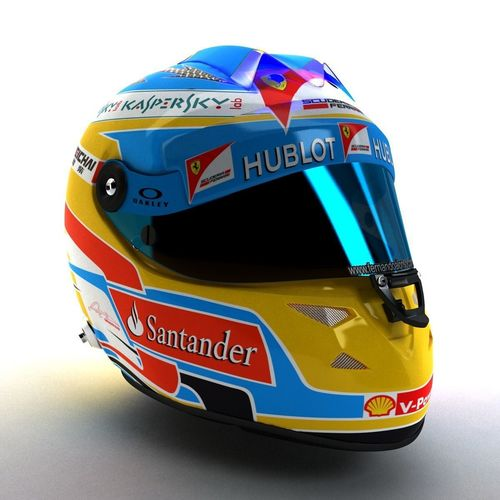 2014 fernando alonso schuberth f1 helmet 3d model low-poly rigged max obj mtl 3ds fbx 1