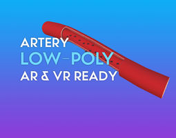 VR / AR ready 3D Artery W Red Blood Cells