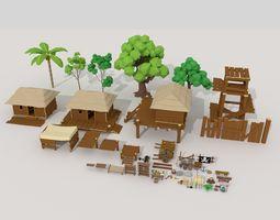 Pitate Village Pack 3D asset VR / AR ready
