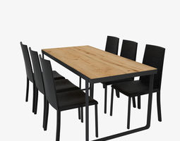Dinning table and chair natural 3D model