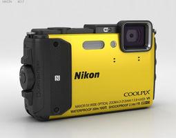 Nikon Coolpix AW130 Yellow digital 3D model