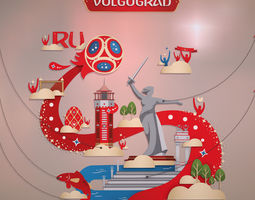 3D model World Cup 2018 Russia host city VOLGOGRAD