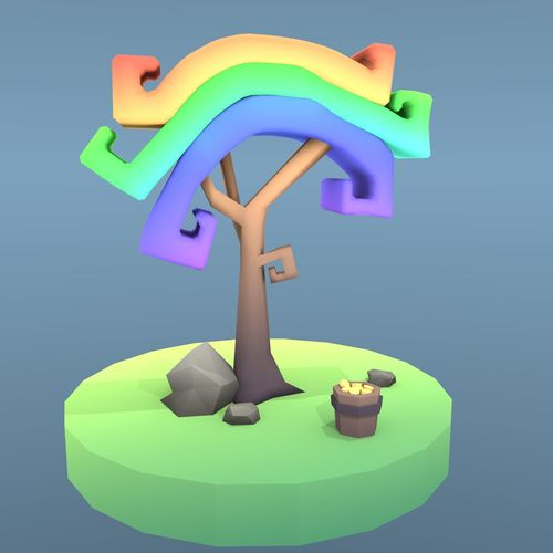 low poly tree - the colorful rainbow tree 3d model low-poly obj mtl fbx blend 1
