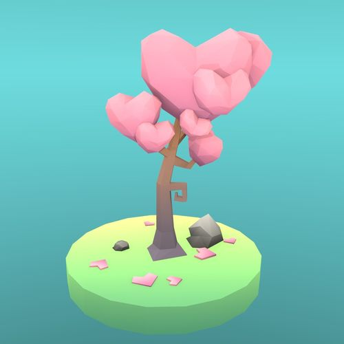 low poly tree - the tree of hearts 3d model low-poly obj mtl fbx blend 1