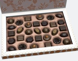 chocolate box 3d model realtime animated