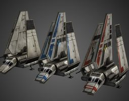 3D model animated Imperial Shuttle