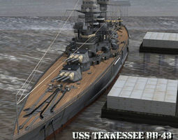 3D USS Tennessee BB-43 for Poser