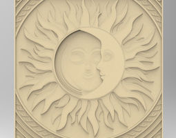 bedroom BED HEADBOARD SUN N MOON 3D print model