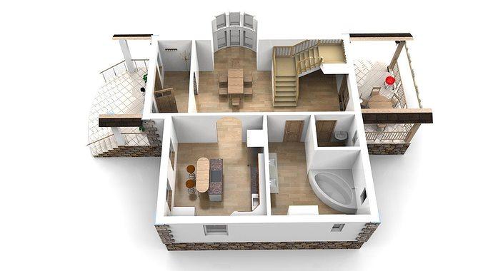 Modern House With Interior 3d Model Obj 3ds Stl 4
