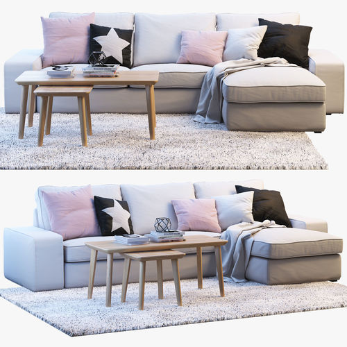 Ikea KIVIK 3 Two Seat Sofa With Chaise Longue 3D Model