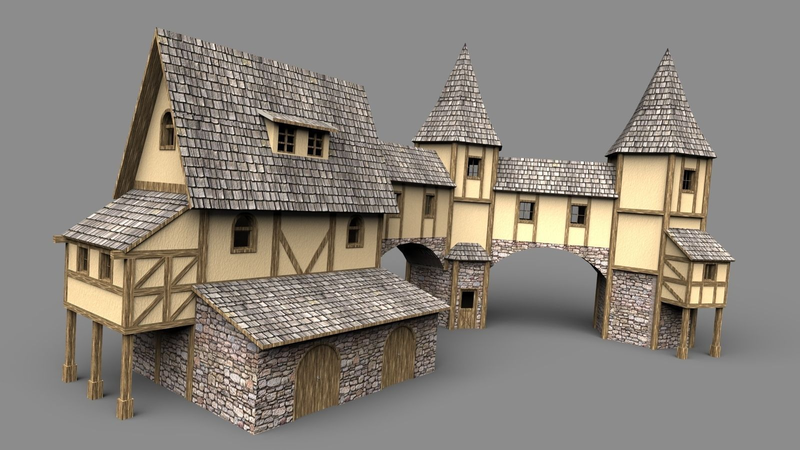 Fantasy House 3d Model Obj 3ds Stl Skp Wrl Wrz Cgtrader